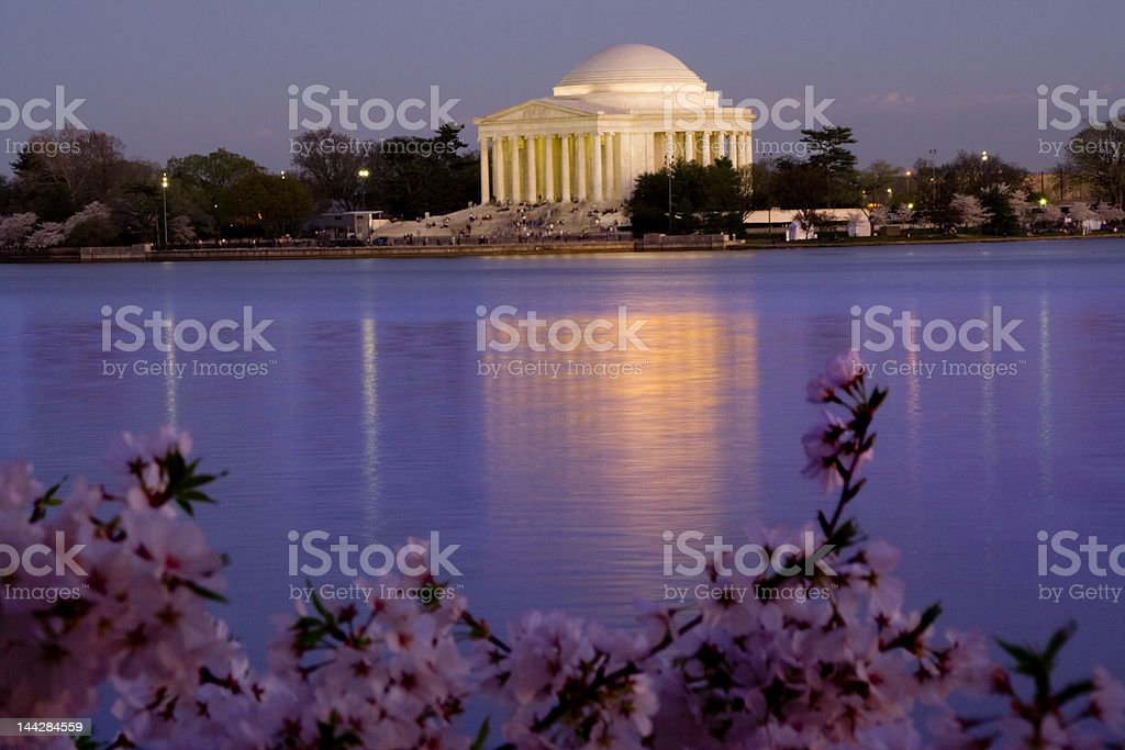 Jefferson Memorial in Cherry Blossums stock photo