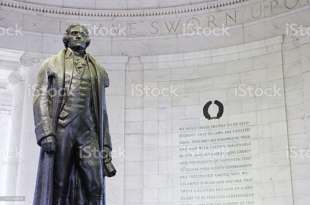 Jefferson Memorial in gray brick circular room stock photo