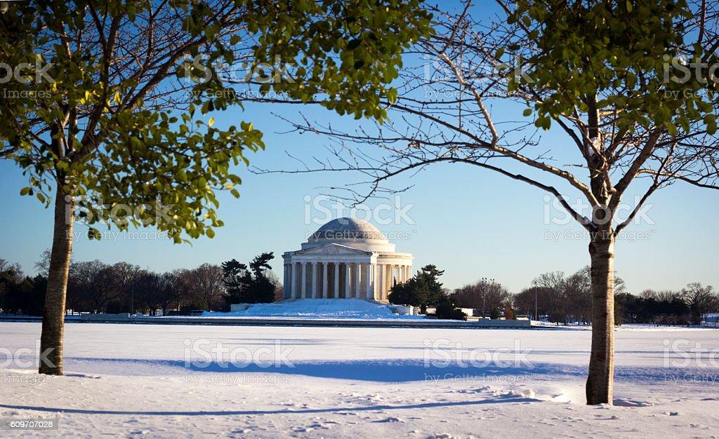 Jefferson memorial in snow stock photo
