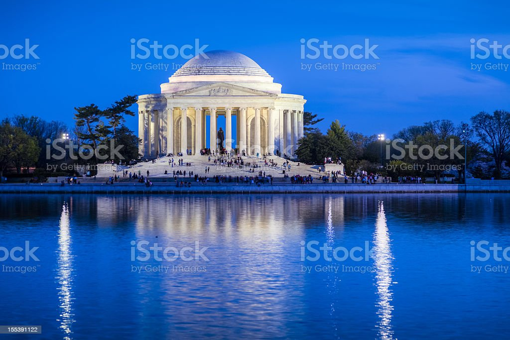 Jefferson Memorial with Lights in Early Evening stock photo