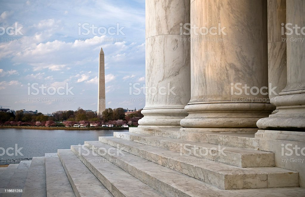 Jefferson Memorial with Washington Monument in background stock photo