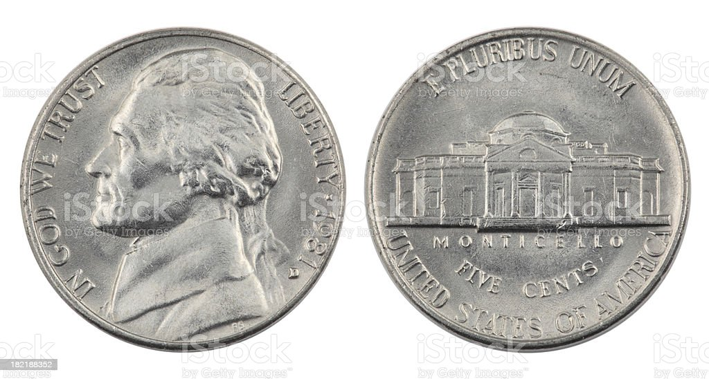 Jefferson Nickel stock photo
