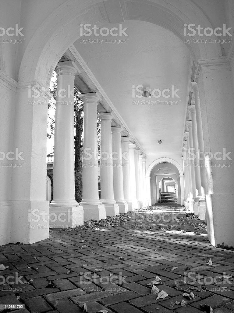 Jeffersons Rotunda - Columned Walkway royalty-free stock photo