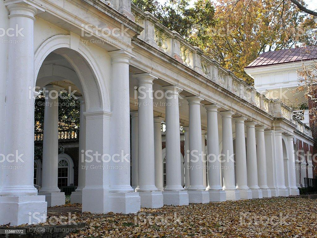 Jeffersons Rotunda - Columned Walkway stock photo
