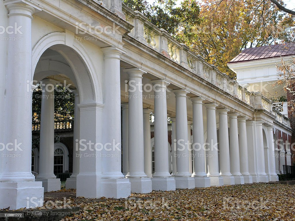 Jeffersons Rotunda - Columned Walkway stock photo