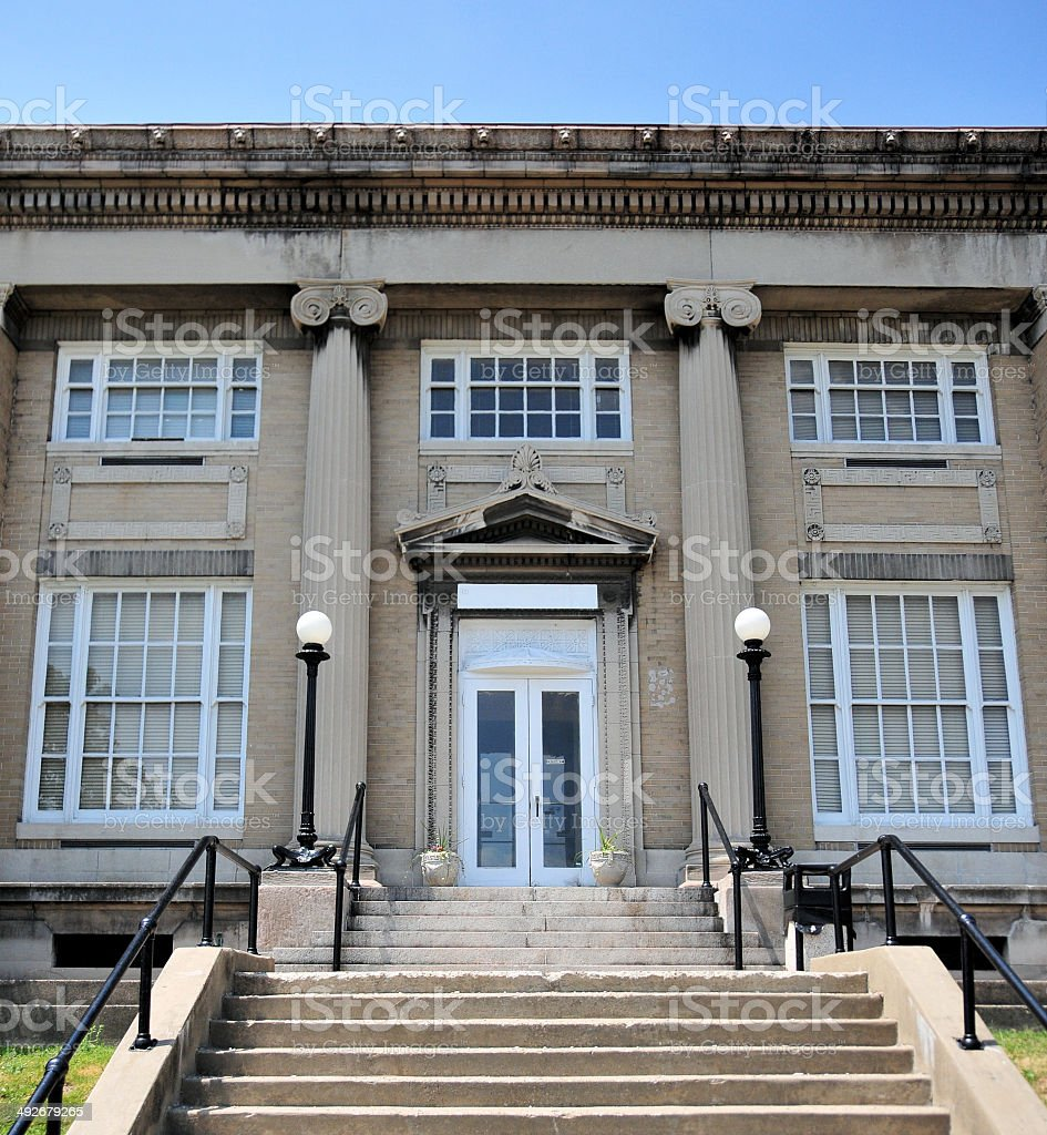Jeffersonville, IN: old post office stock photo