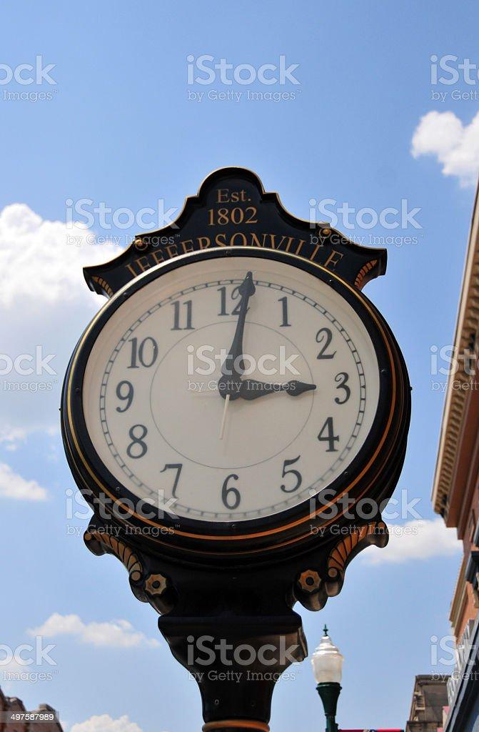Jeffersonville, Indiana, USA: public clock stock photo