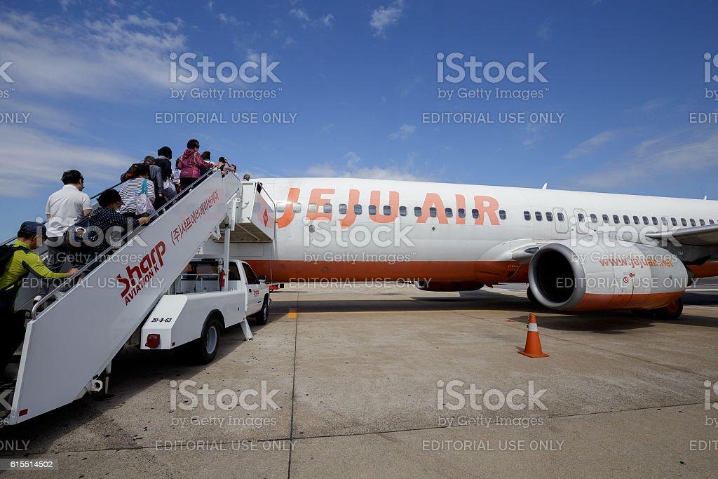 Jeju air plane at Jeju airport, Korea royalty-free stock photo