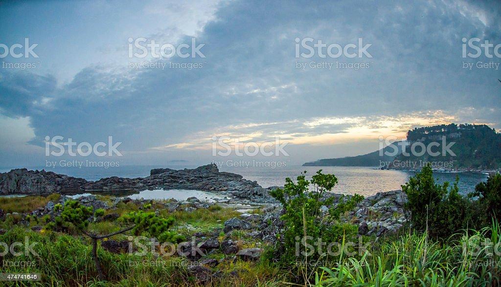 Jeju Coastline at Sunset stock photo