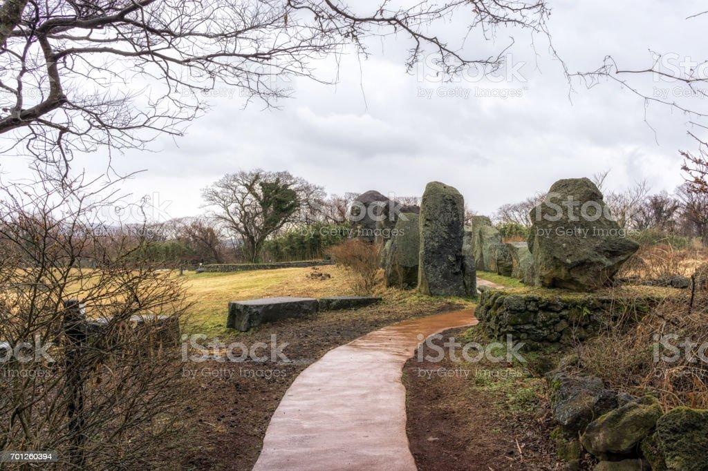 jeju stone park stock photo
