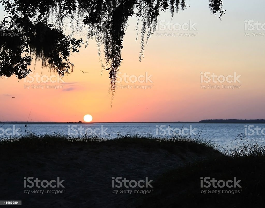 Jekyll Island sunset stock photo