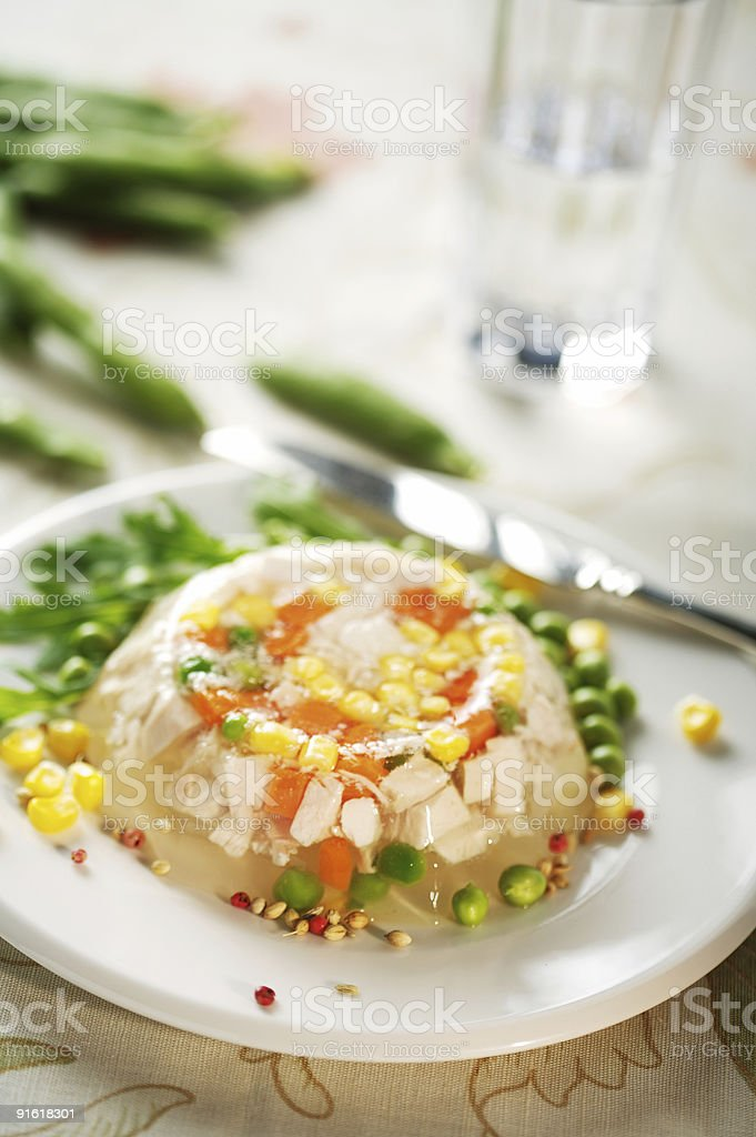 Jellied chicken meat royalty-free stock photo