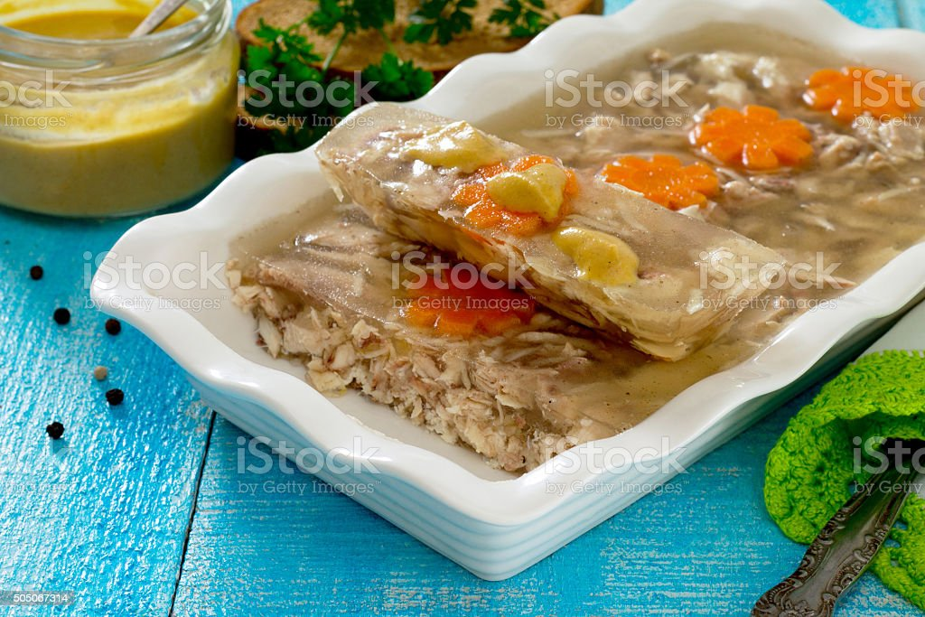 Jellied meat jelly in a rustic style stock photo