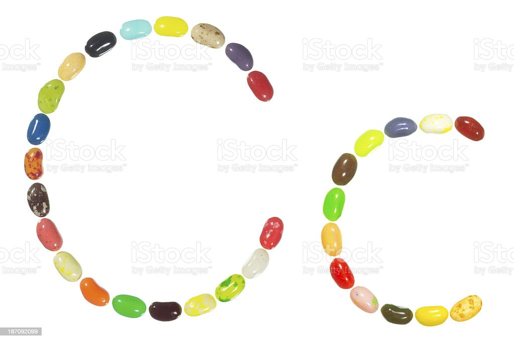Jelly beans alphabet, upper and lower case letter C royalty-free stock photo