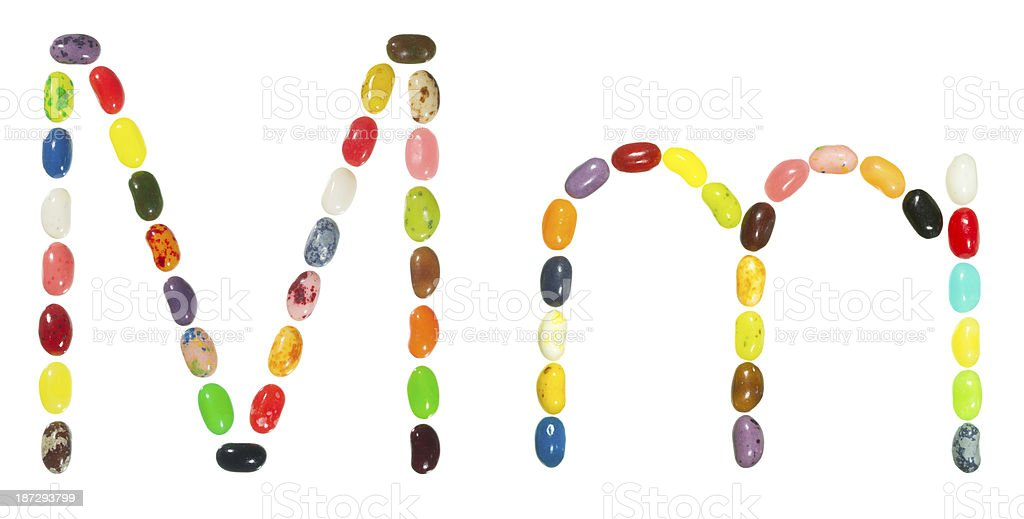Jelly beans alphabet, upper and lower case letter M royalty-free stock photo