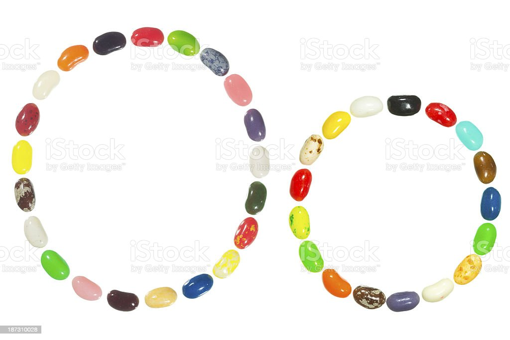 Jelly beans alphabet, upper and lower case letter O royalty-free stock photo