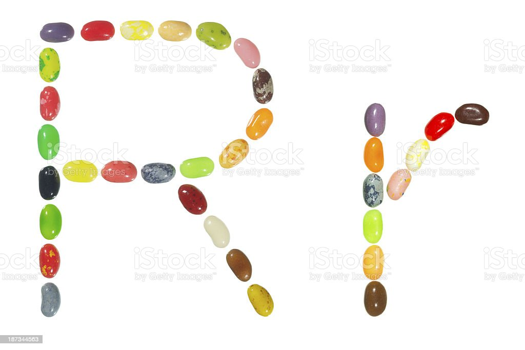 Jelly beans alphabet, upper and lower case letter R royalty-free stock photo