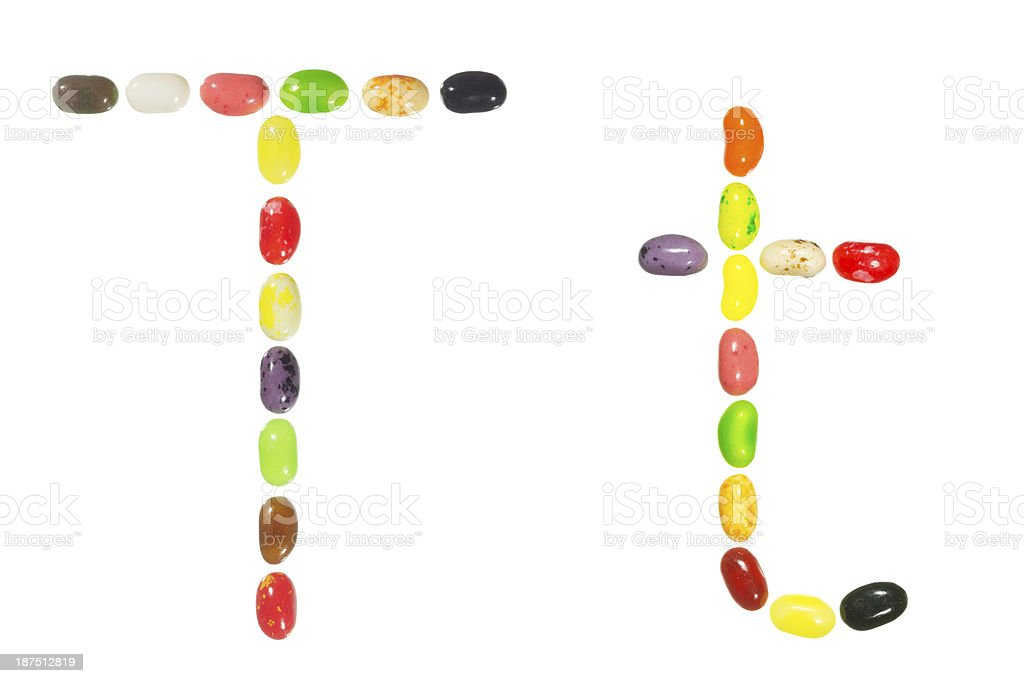 Jelly beans alphabet, upper and lower case letter T royalty-free stock photo