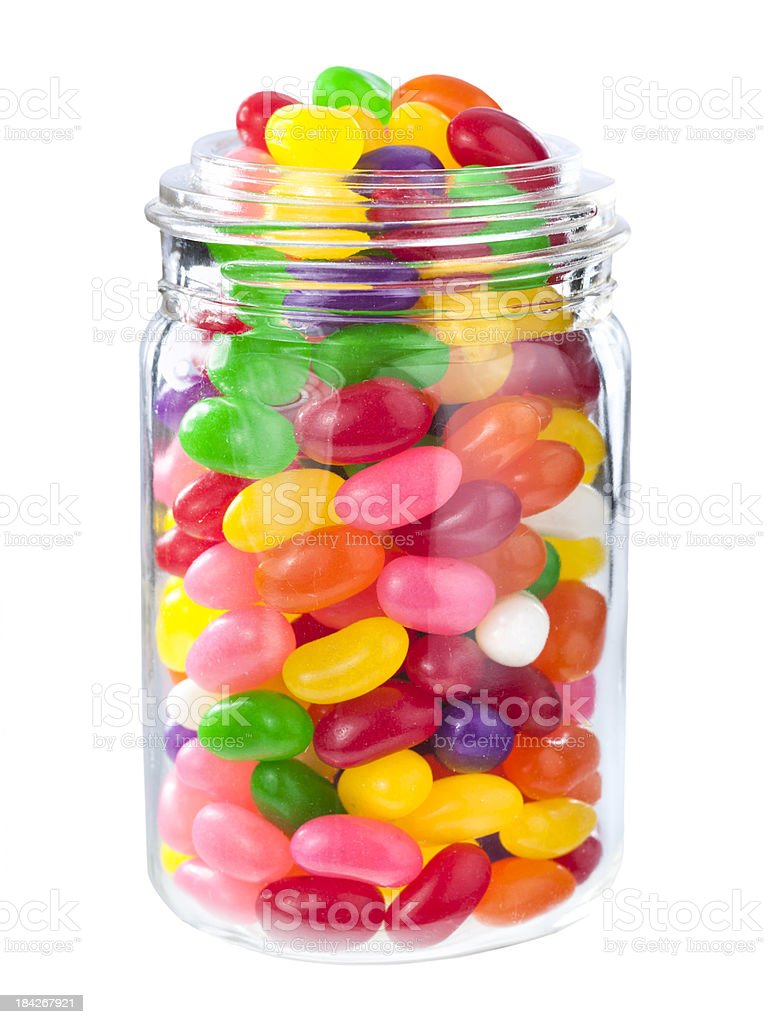 Jelly beans in a jar royalty-free stock photo