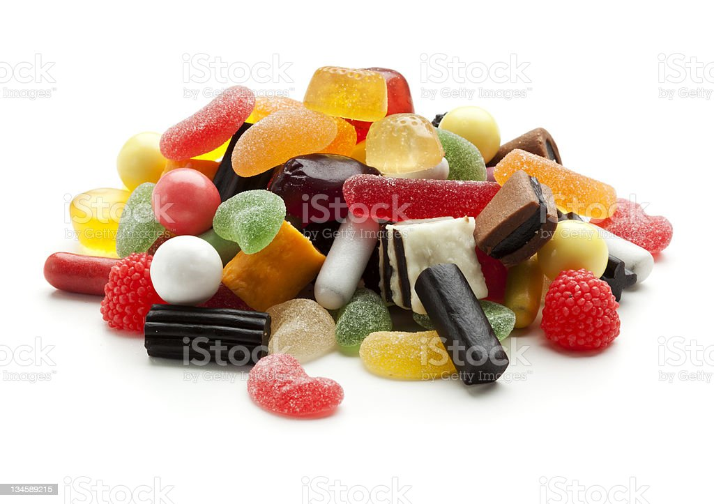 jelly beans, wine gums and liquorice candy stock photo
