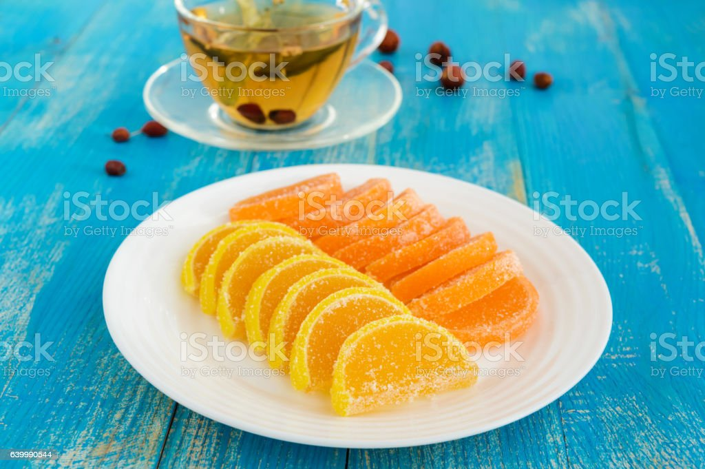 Jelly candies in form citrus slices covered with sugar stock photo