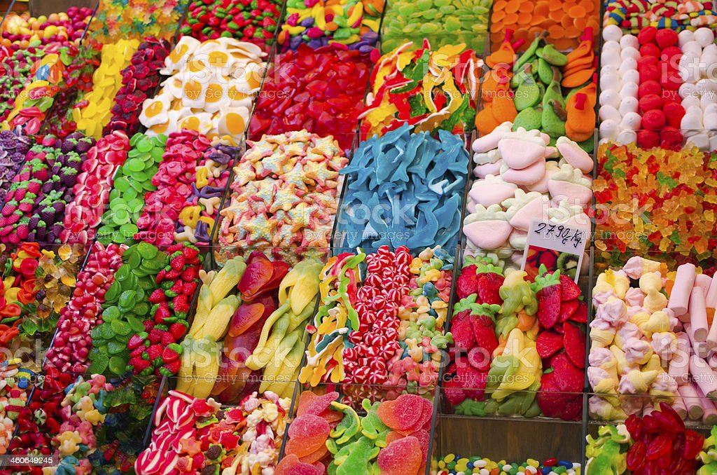 Jelly candies on market stall stock photo