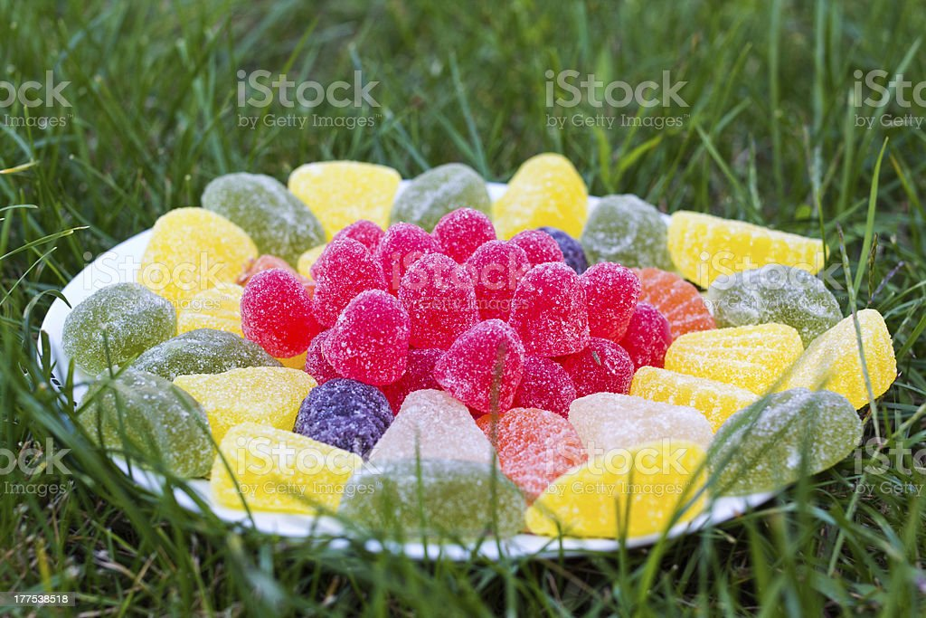 Jelly candies on plate closeup royalty-free stock photo