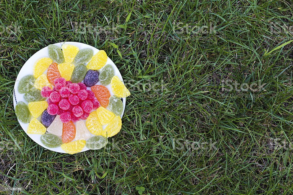 Jelly candies on plate royalty-free stock photo