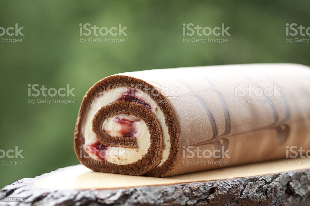 Jelly roll with cream stock photo