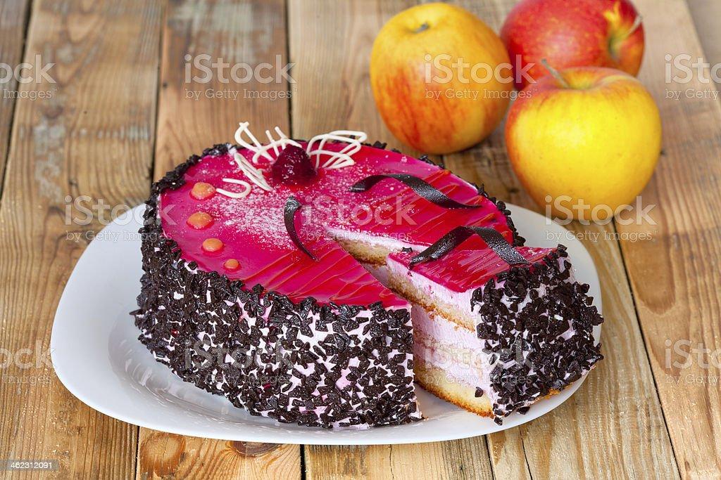 Jelly sponge cake with whipped cream stock photo
