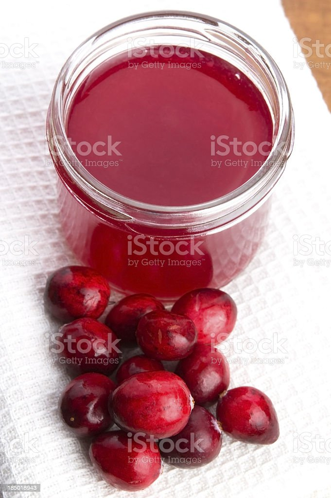 Jelly with Cranberries in Glass stock photo