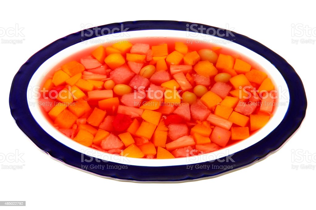 Jelly with fruit in oval bowl stock photo