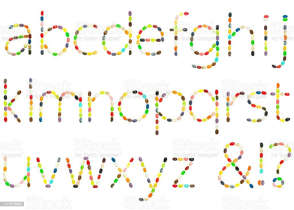 Jellybean lowercase alphabet royalty-free stock photo