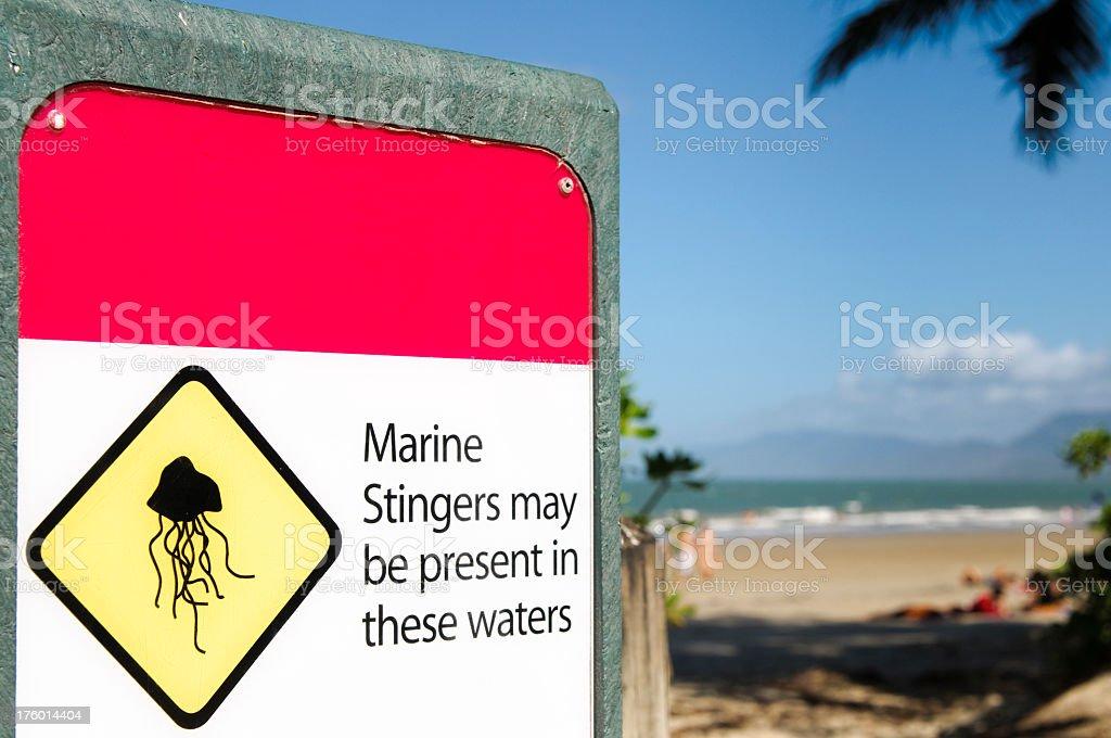 Jellyfish Warning in Australia royalty-free stock photo