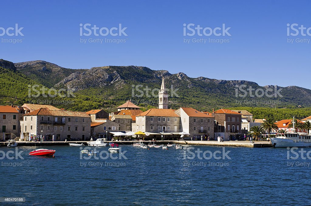 Jelsa town on Hvar island, Croatia stock photo