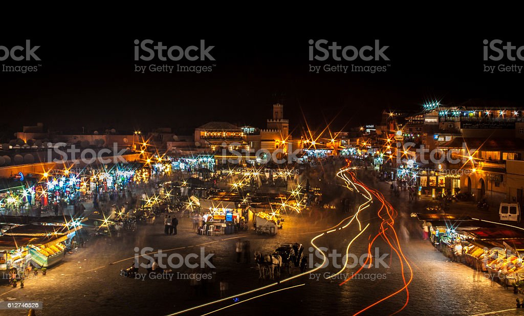 Jemaa el Fna by night stock photo