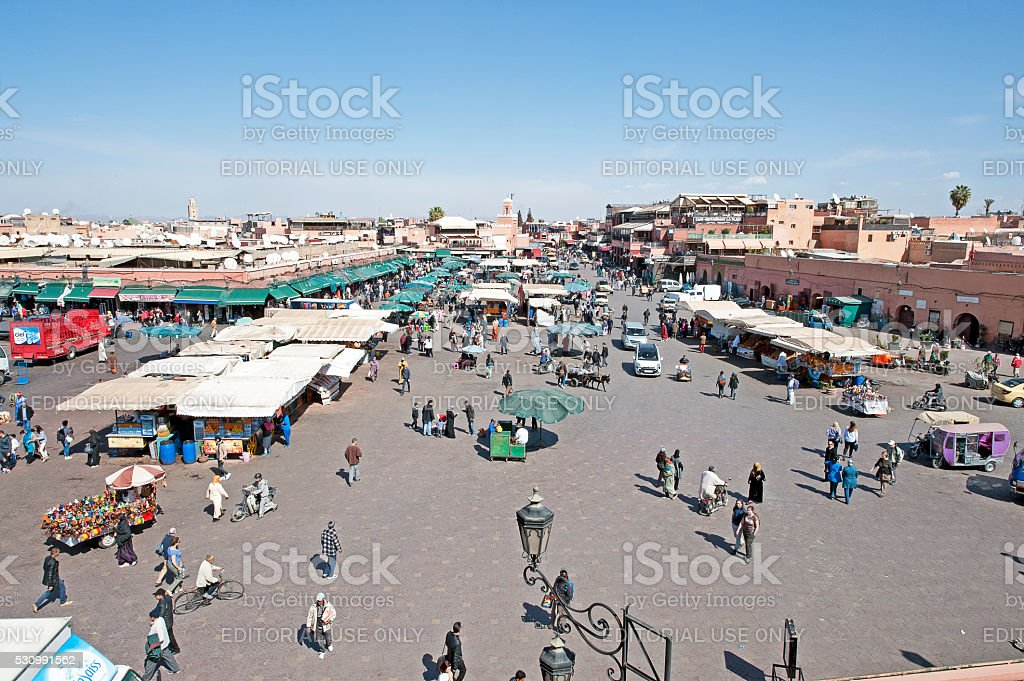Jemaa el Fna overview, the Souk, Marrakech, Morocco stock photo