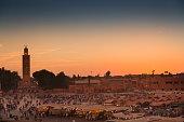 Jemaa el Fna square at sunset, in Marraketch