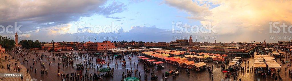 Jemaa el-Fnaa panoramic view, Marrakesh, Morocco (98 MPix) stock photo