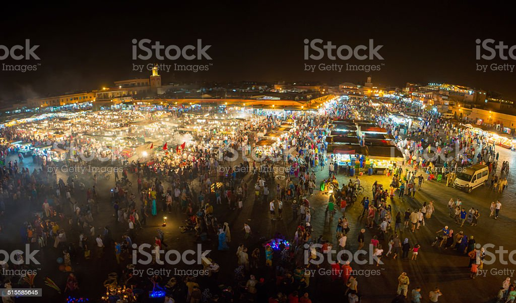Jemaa el-Fnaa, square and market place in Marrakesh stock photo
