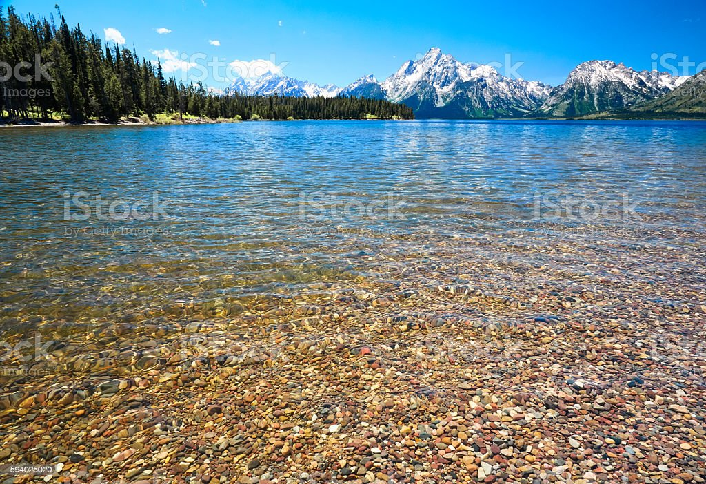 Jenny Lake and Grand Tetons, Grand Teton National Park, Wyoming stock photo