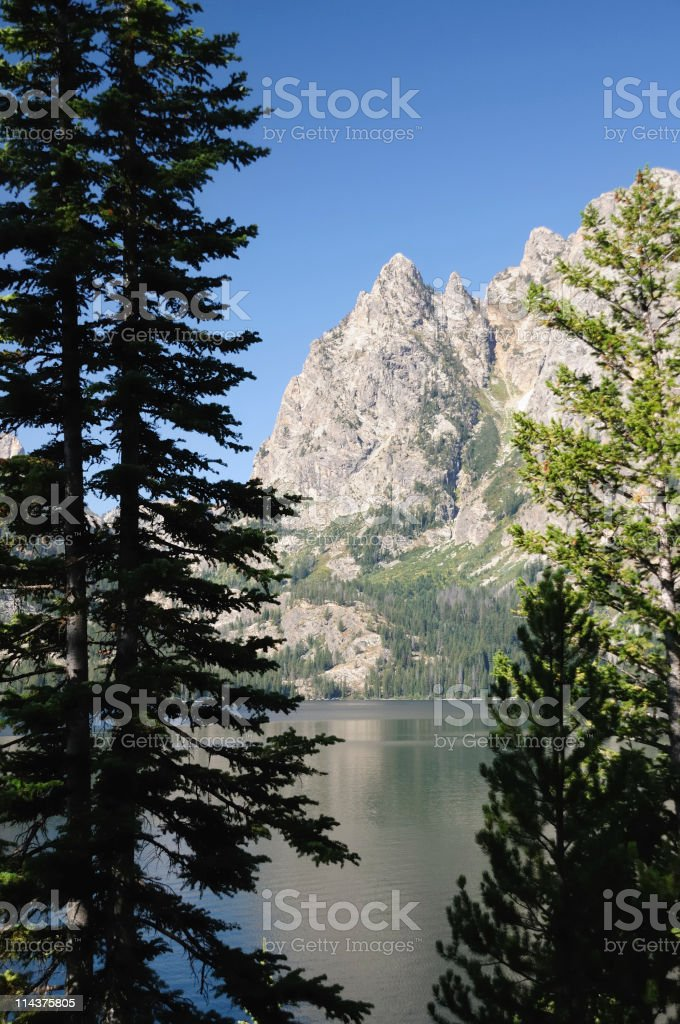 Jenny Lake with the Grand Tetons in the background. royalty-free stock photo