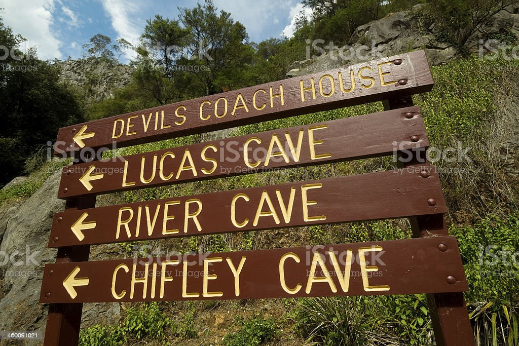 Jenolan Caves - Signboard stock photo