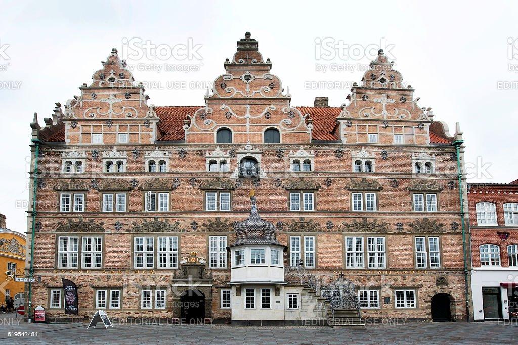 Jens Bangs House facade, Aalborg, Denmark stock photo
