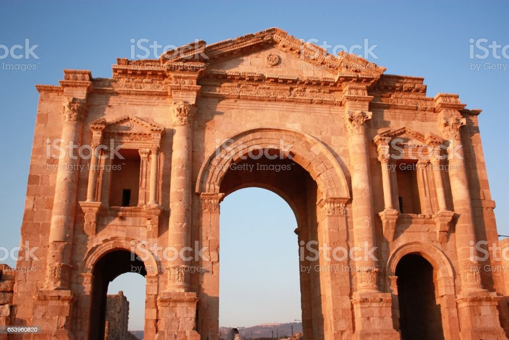 Jerash in Jordan, Triumphal Arch, Middle East stock photo