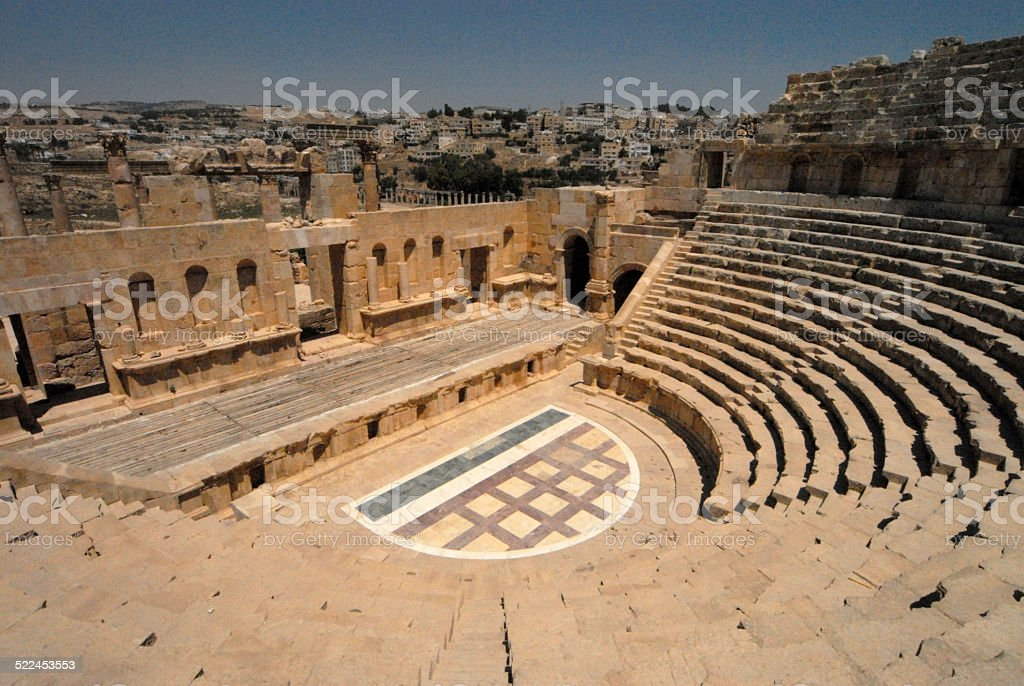 Jerash, Jordan: North Theatre stock photo