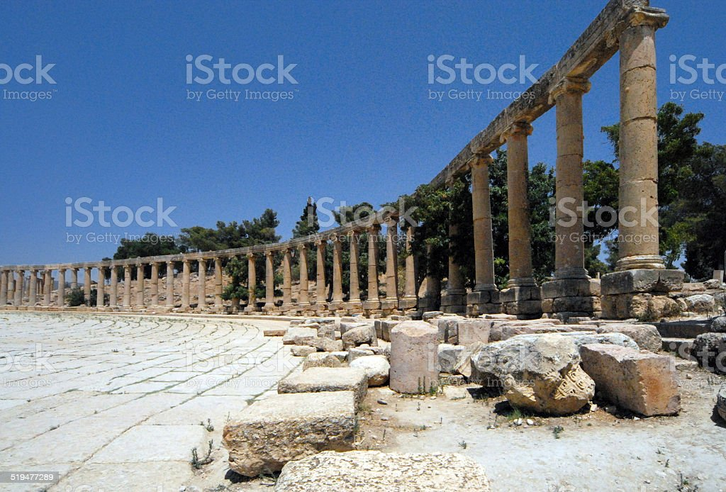 Jerash - Jordan: Roman forum stock photo