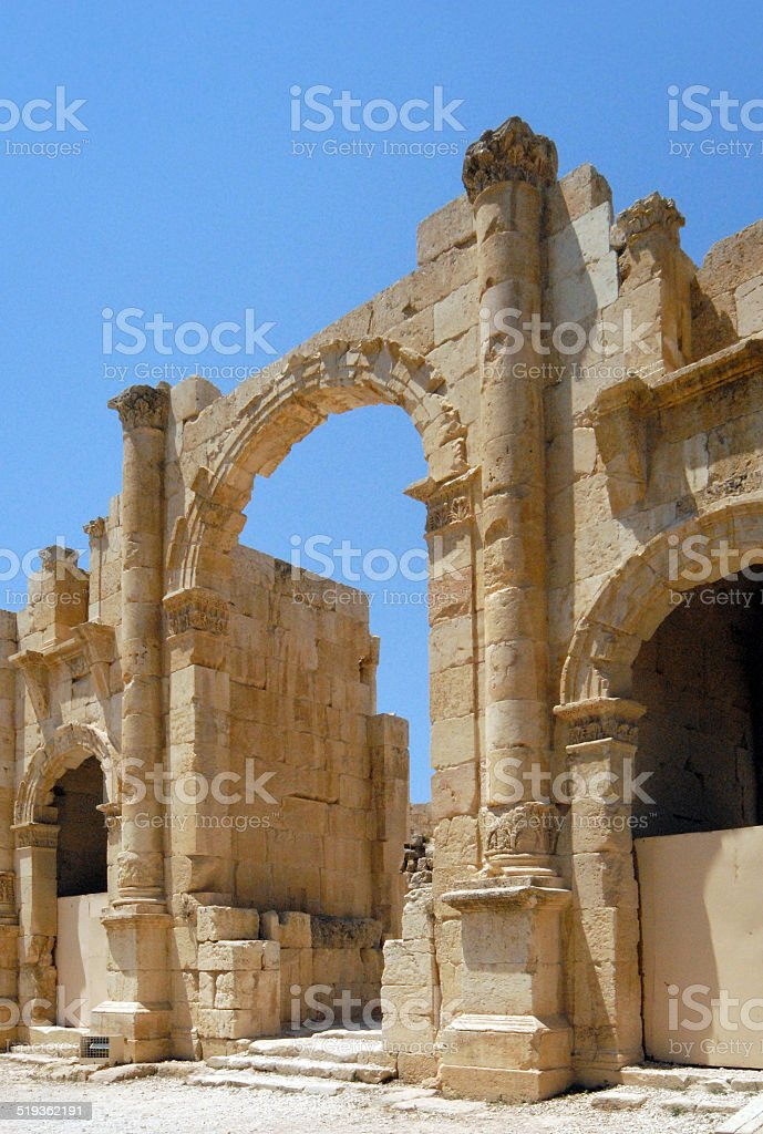 Jerash, Jordan: South gate stock photo