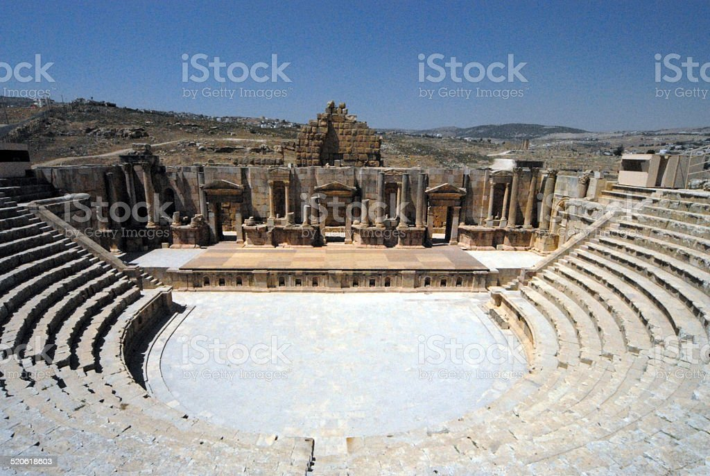 Jerash - Jordan: South theatre stock photo