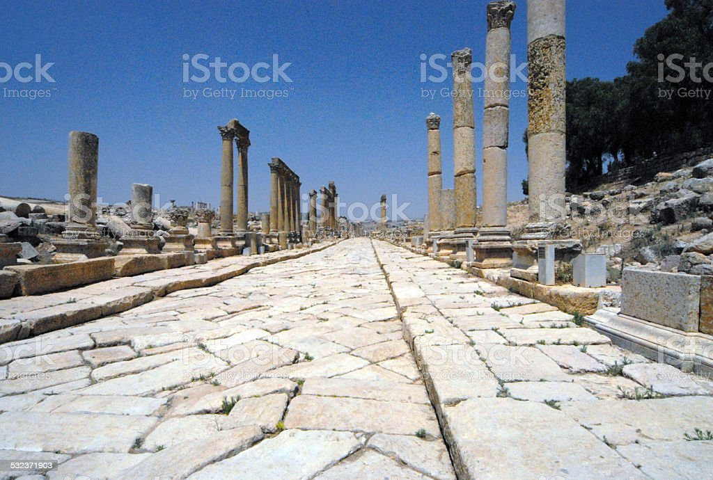 Jerash, Jordan: the Cardo Maximus stock photo